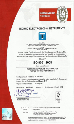 Certification – Techno Electronics & Instruments